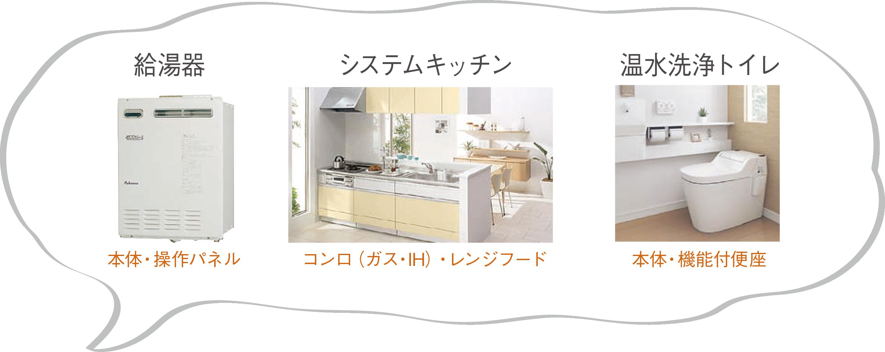 給湯器、システムキッチン、温水トイレ